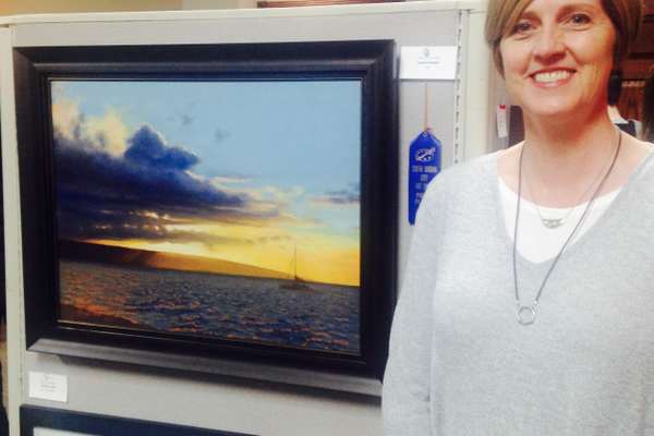 "Jenettte Purcell won first place for adult categories, with painting ""Lana'i Sunset."" (Mylinda LeGrande/City Journals)"