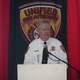 New UFA Fire Chief Dan Petersen welcomes visitors to his department's newest station. (Carl Fauver/City Journals)