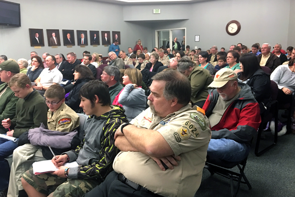 Residents pack into the West Jordan city council chambers on Feb. 22. Residents voiced their opinions about a ballot measure that could have changed the city's form of government during a public hearing at the meeting. (Tori La Rue/City Journals)