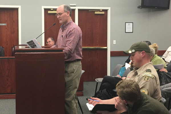 West Jordan's former interim city manager, Bryce Haderlie, voices his opposition to a resolution that intended to put a change of government question on the November ballot. The resolution was later rescinded on March 8. (Tori La Rue/City Journals)
