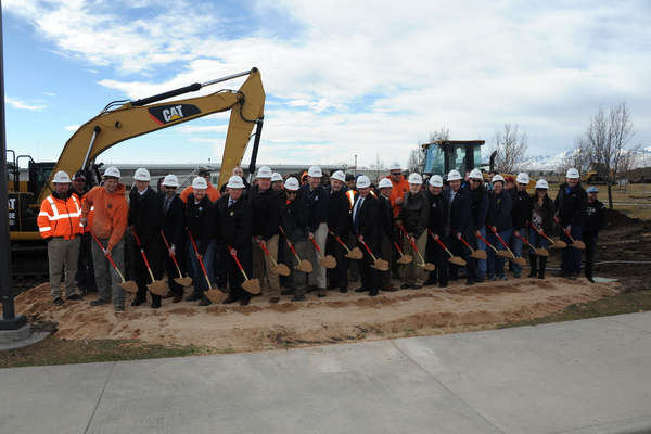 Public works employees and city leaders ceremonially break ground on West Jordan's new public works facility on Feb. 16. (West Jordan City)