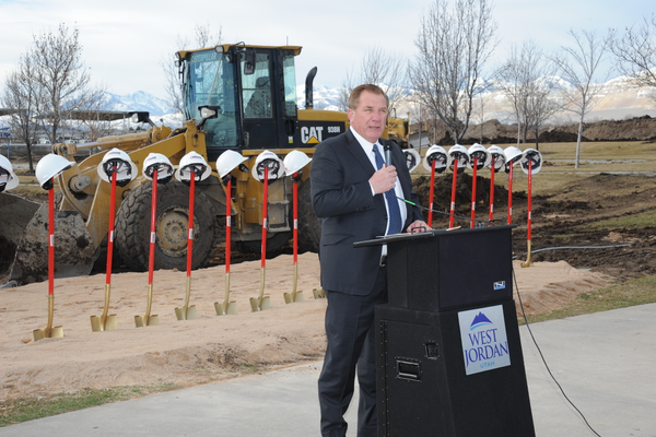 Mayor Kim Rolfe speaks at the groundbreaking ceremony for West Jordan's new public works facility on Feb. 16. (West Jordan City)