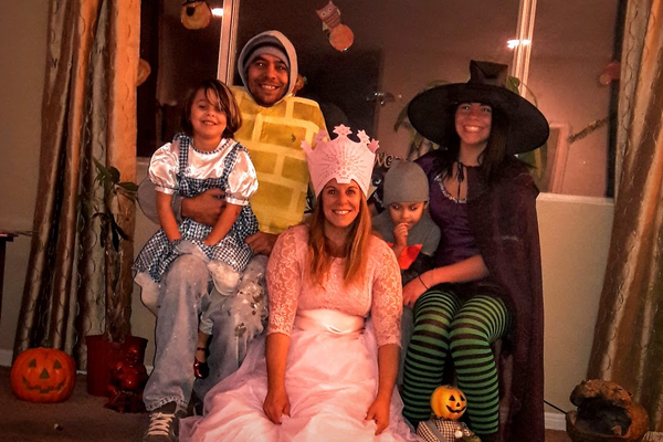 The Bradford family takes a photo on Halloween. (Bradford family)