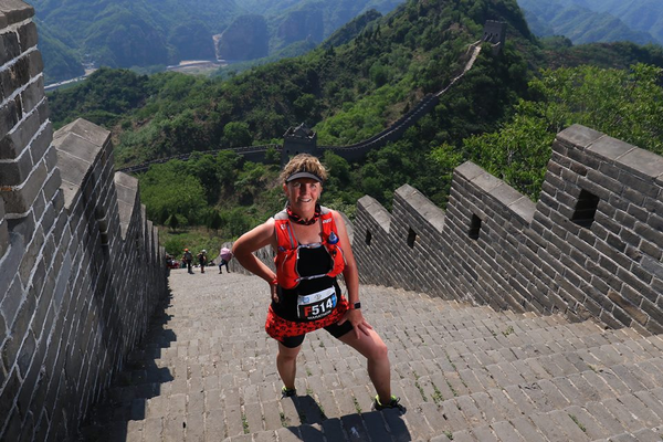 Wendy Weixler running her first marathon on the Great Wall of China. (Wendy Weixler)
