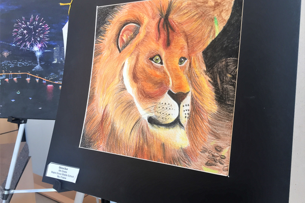 2017 District 279 Student Art Show. Student artist Maple Grove Middle School student Olivia Sun (photo by Wendy Erlien)