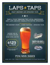 Laps  Taps Craft Brewery  Speedway Tour - start May 21 2017 1200PM