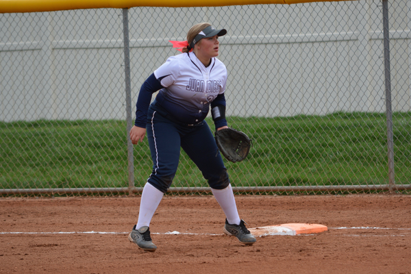 Freshman Allie Madsen is a natural catcher, but is playing corner infield this year before senior Bela Sedillo passes the catching torch onto her next year. (DeAnn Madsen/Juan Diego softball)