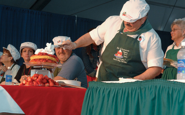 Strawberry Shortcake Eating Contest where contestants are challenged to eat a 4-lb strawberry shortcake