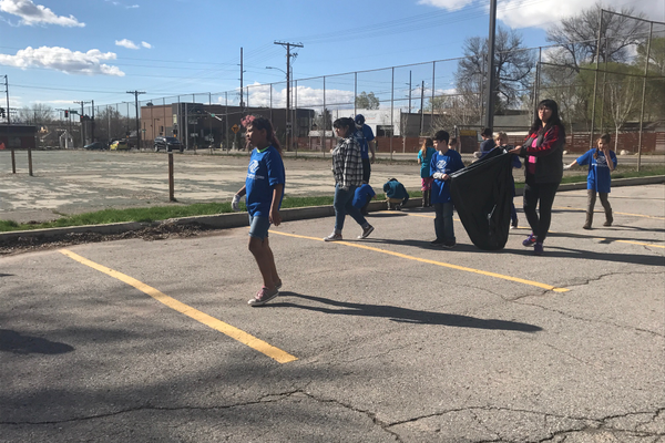 With the help of their teachers, the 3rdthird- and 4th fourth-grade students got cleaned the area around their building cleaned from unwanted trash. (Natalie Mollinet/\City Journals).