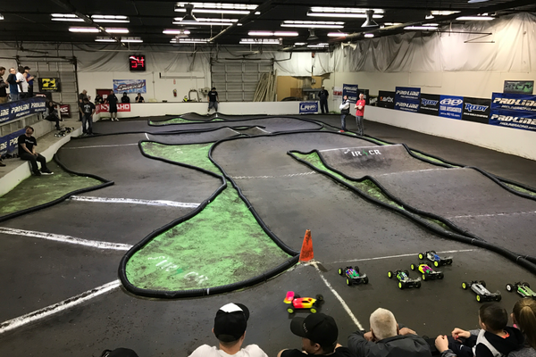The indoor remote- control race track at Intermountain R/C Raceway is one of a kind with special dirt and intricate patterns. (Greg James/City Journals)