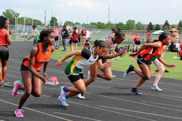 Track athletes from Maple Grove, Osseo and Park Center converged at Osseo Senior High on Tuesday, May 16 for District 279 bragging rights- Photo Credit: Maple Grove Voice