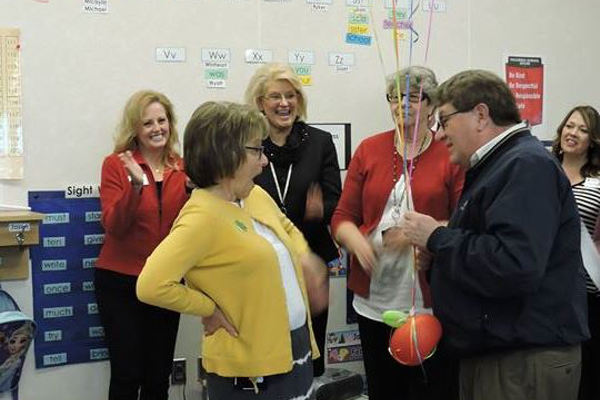 Susan Locke from Columbia Elementary reacts to being named an outstanding educator by the Jordan Education Foundation. (Jet Burnham/City Journals)