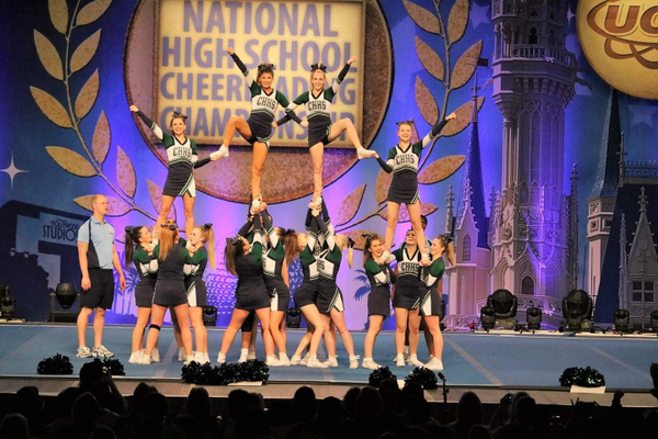 The Copper Hills cheerleaders won the fight song division at the state cheerleading competition. (Ulbby Dyson/Forever Cheer)