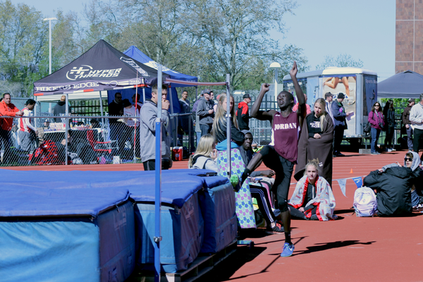 Hoping to clear the bar, a Jordan high jumper takes a leap. (Kenneth Damron/Jordan Head Coach)