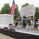 The Crawford Family float, which honored veterans of all wars, was on display at town common before the Memorial Day ceremony got underway