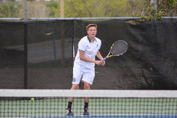 No. 2 singles player Cole Marshall serves against Skyline. (Travis Barton/City Journals)
