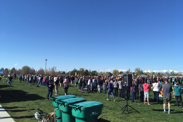 Parents try to keep track of their children at the Easter event, where the Easter Bunny had scattered over 40,000 prizes over the fields of the recreation center. (Dan Metcalf/ Cottonwood Heights City)