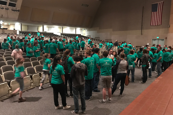 The Highland community met in Highland High School's auditorium to talk about the projects and the event. (Natalie Mollinet\City Journals).