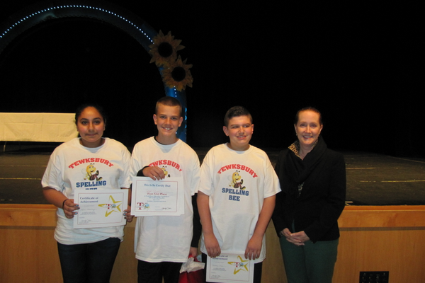 Karen Hennawy (3rd place), Ryan Flynn (1st place), Anthony Russo (2nd place) and Ryan School Principal McInnes
