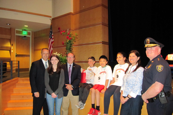 Town Manager Richard Montuori, Maeve Moynihan, Tewksbury Superintendent Chris Malone, Jared Minisola (1st place), David Lam (2nd place), Brooke Leone (3rd place), Librarian Noelle Boc and Chief of Police Timothy Sheehan