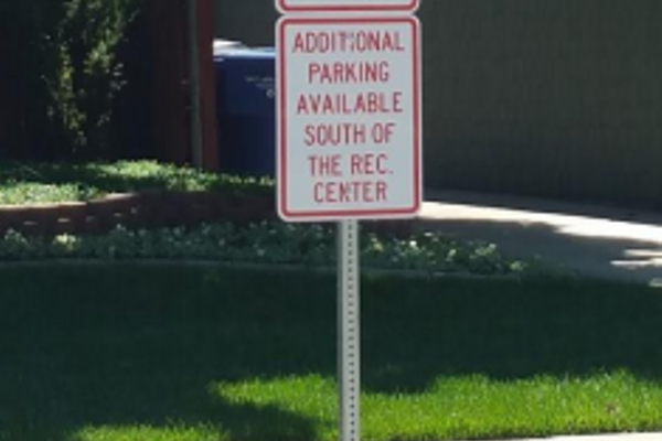 """No Parking"" signs were installed in an attempt to push the recreation center traffic to the appropriate parking lot. (Cottonwood Heights City)"