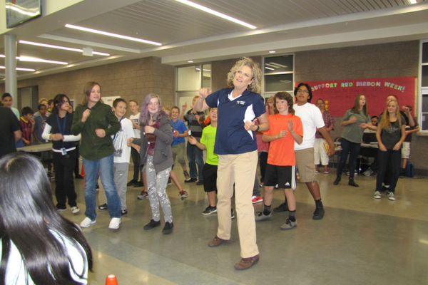 Current Hillcrest Junior High Principal Jennifer Covington showed students her dance moves in 2015.  She will become Murray School District's superintendent July 1 when current superintendent Steve Hirase retires.  (Julie Slama/City Journals)