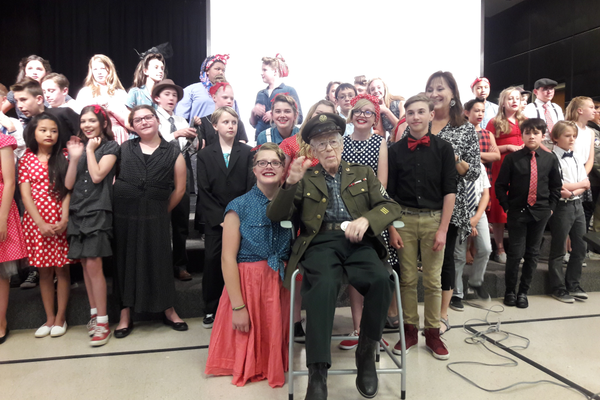 A World War II veteran named Duane attended the event and had fun watching the sixth graders dance to the music of his generation. (Jennifer Going/Highland Park ELP).