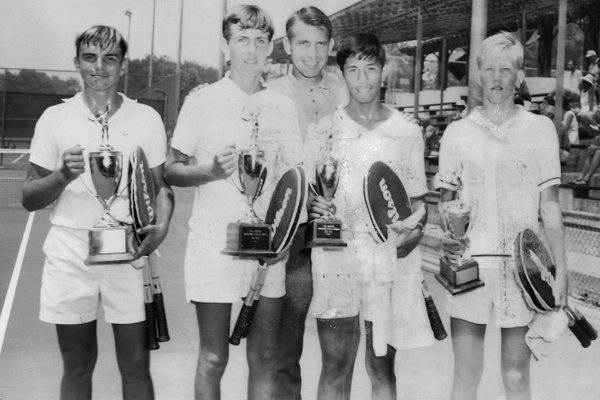 John (far left) and his doubles partner pose with the runners up after winning the California state doubles championship.