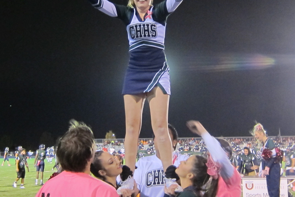 Although she suffers from Holoprosencephaly, Miranda Clegg has achieved her dream of becoming a cheerleading flyer. (Barbara Clegg)