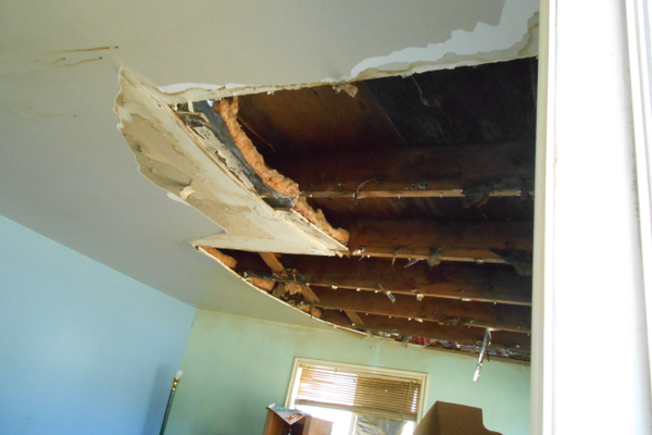 The ceiling inside the house prior to its reconstruction as an Idea House. (Jeff Hayden and Carol LaFreniere)