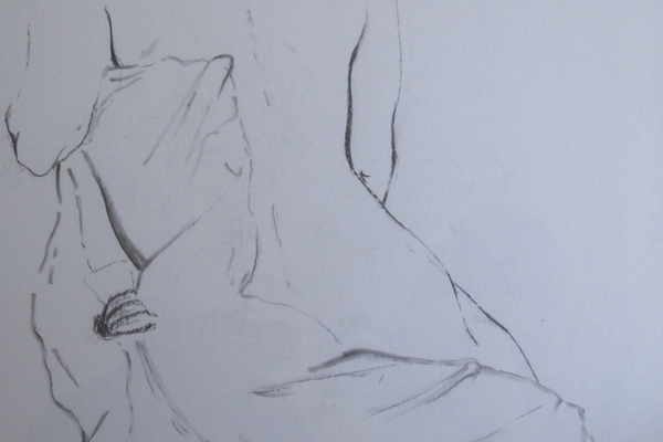 A studio nude sketch by Leah Maholmes.