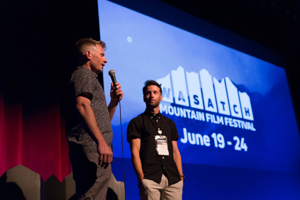 Ski mountaineer Brody Leven (right) introduced to festival panel. (Stuart Derman)