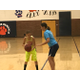 Two girls face off in one- on- one drills at girls basketball camp. (Koster Kennard/ City Journals)