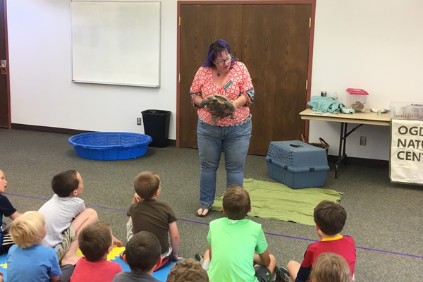 Shawnee Sawyer explains the difference between a tortoise and a turtle with Laser, the desert tortoise. Desert tortoises are native to Utah and an endangered species. (Kelly Cannon/City Journals)