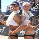 2017 AVP Manhattan Beach Open women's champs Brittany Hochevar and Emily Day. Photo credit: Mpu Dinani