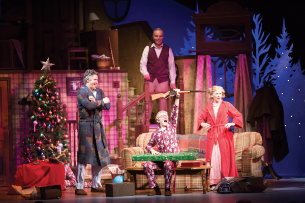 Florida Rep is perfect for discovering the art of performance. The company is at the Historic Arcade Theatre in Fort Myers, where productions such as A Christmas Story (below) are staged. This show featured Brendan Powers (left), Michael Scott, Henry Crater and Rachel Burttram. Photo by Bryelle Dafeldecker.