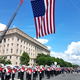 Alta High School's band marches under the Stars and Stripes in the the Washington, DC Memorial Day parade. (Alta High School)