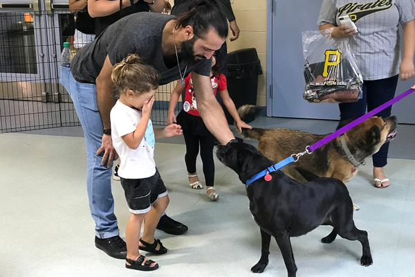 Sean Rodriguez giving some ear scratches to an adoptable dog.