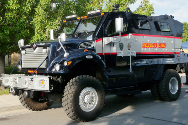 This Unified Police rescue vehicle cost the U.S. Army about $750,000; but local law enforcement bought it on surplus for only $35,000. (Carl Fauver/City Journals)