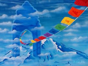 Medium portal with prayer flags by joshua jerue