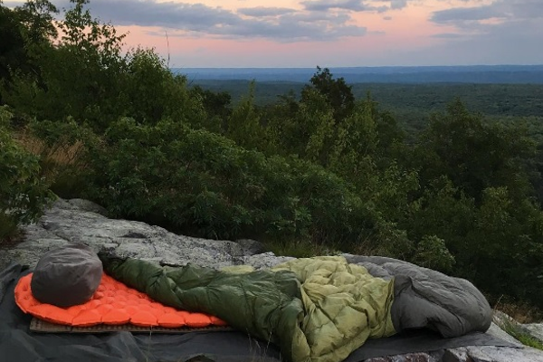 Schmittle's sleeping bag, at Delaware Water Gap National Park.