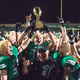Nov. 17 - Hal Wasson and the Dragons hoist the bi-district trophy after a 42-0 victory over McKinney at Dragon Stadium. Photo by S.Johnson/SnappedDragons.com