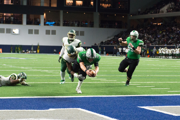 Nov. 25 - Will Bowers dives for the end zone for a TD during a 33-15 win over the DeSoto Eagles in the Area round of the 2017 UIL Playoffs at the Ford Center in Frisco, TX. Photo by S.Johnson/SnappedDragons.com