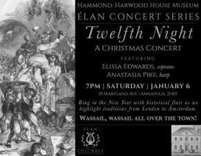 Medium twelfth night concert poster 2018 with historic print copy 300x232