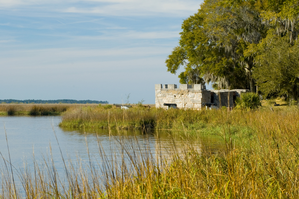 Parts of Fort Frederica, including the magazine, still stand along the marshes. Photo courtesy of goldenisles.com.