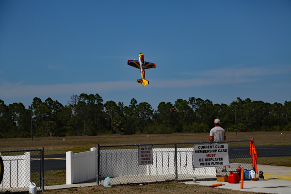 At Seahawk Park, a club member pilots a replica stunt plane. Photo courtesy of R/Sea Hawks Cape Coral Flying Club.
