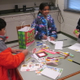 Students make cards for sick children at Unionville Elementary.