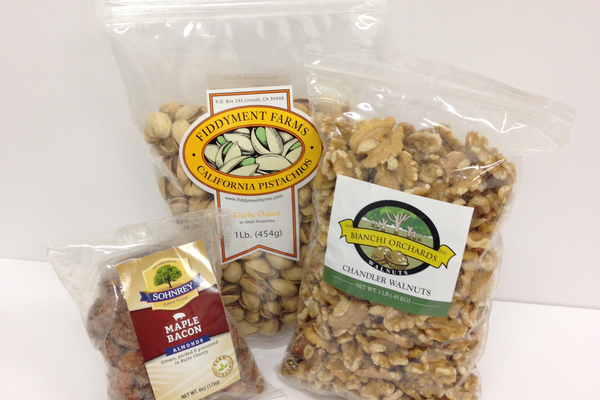Sohnery Maple Bacon Almonds, Fiddyment Farm's Garlic Onion Pistachios, and Bianchi Orchards' Walnuts