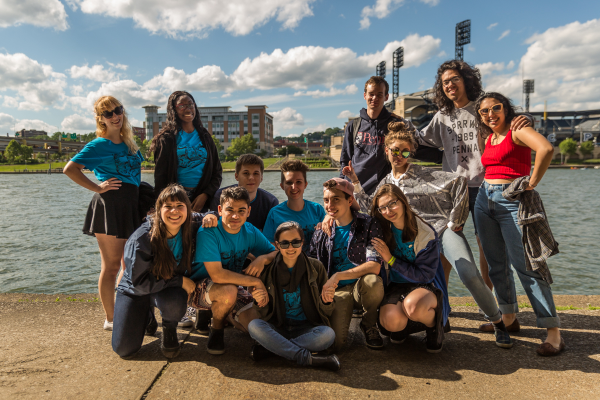 CAPA students pose near Riverlife's TBD pop-up art gallery. Photo by Maranie Staab