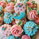 Pink and Blue Floral Sugar Cookie Set